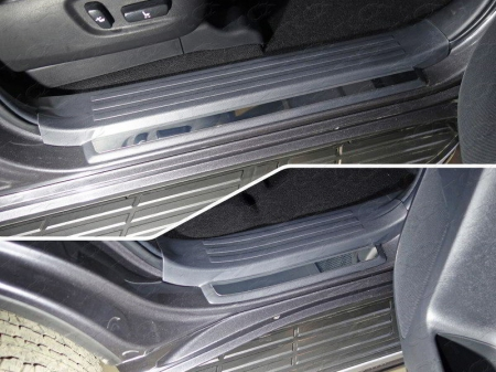 Toyota Land Cruiser 150 Prado 2017-Накладки на пластиковые пороги (лист зеркальный) 4шт